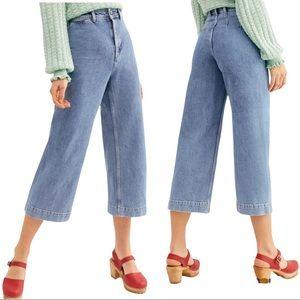 Free People Devon Wide Leg High Rise Crop Jeans Mom Jean Retro Fit Size 27